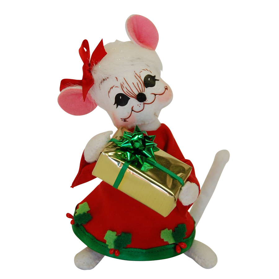 6in Holly Berry Girl Mouse