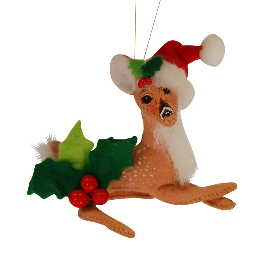 4in Holly Berry Fawn Ornament