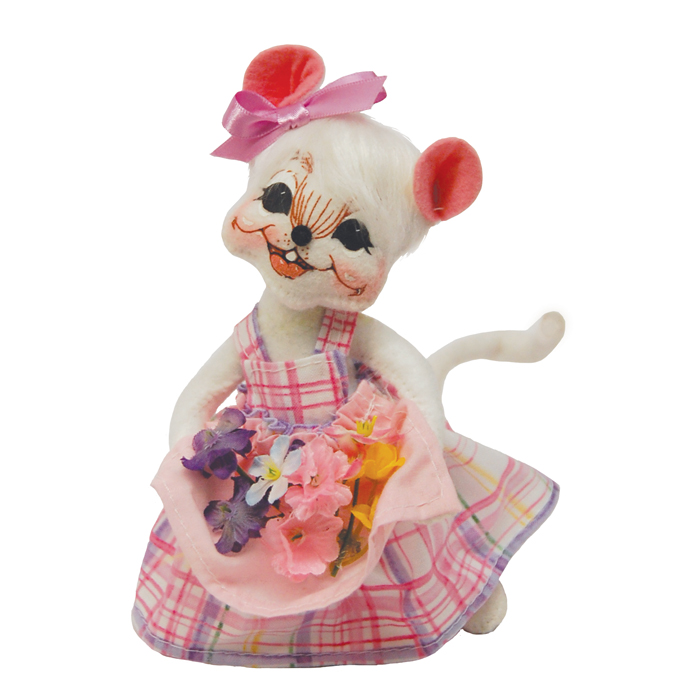6-inch Spring Flowers Girl Mouse