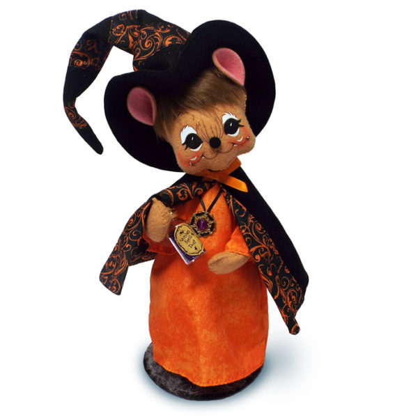 8in Orange Swirl Witch Mouse