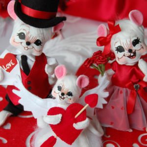 valentine mouse family 3 pc set