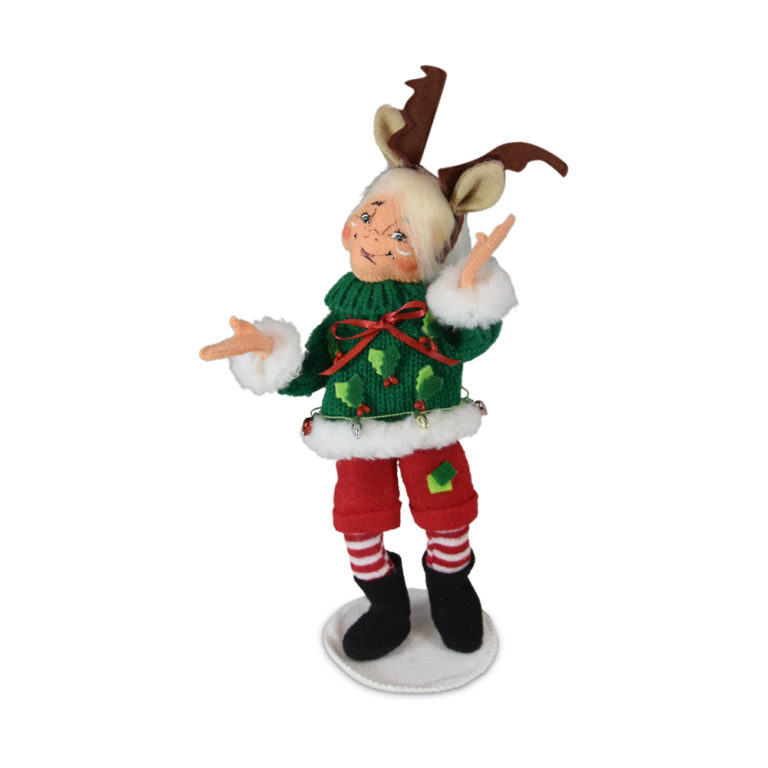 christmas elf wearing ugly sweater and reindeer antlers